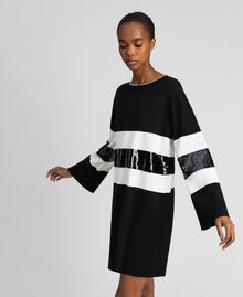Striped knitted dress with sequins Two-tone Black / Lily Woman 192MT3200-02