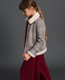 Printed faux shearling jacket Houndstooth Print Child 192GJ2300-01