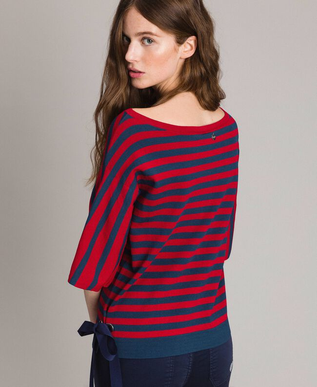 "Pull rayé avec nœud Rayures Lac Profond / Rouge ""Coquelicot"" Femme 191ST3020-04"