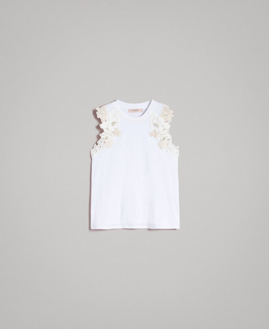 Tank top with floral patch White Woman 191TT2201-0S