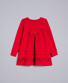 Cotton blouse with lace Poppy Red Child FA821W-0S
