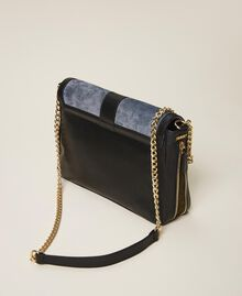 """Large Rebel suede and smooth leather shoulder bag Multicolour Ash Light Blue / """"Olive Green"""" Woman 202TB7052-04"""