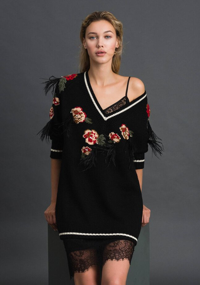 Maxi jumper with floral jacquard and embroidery
