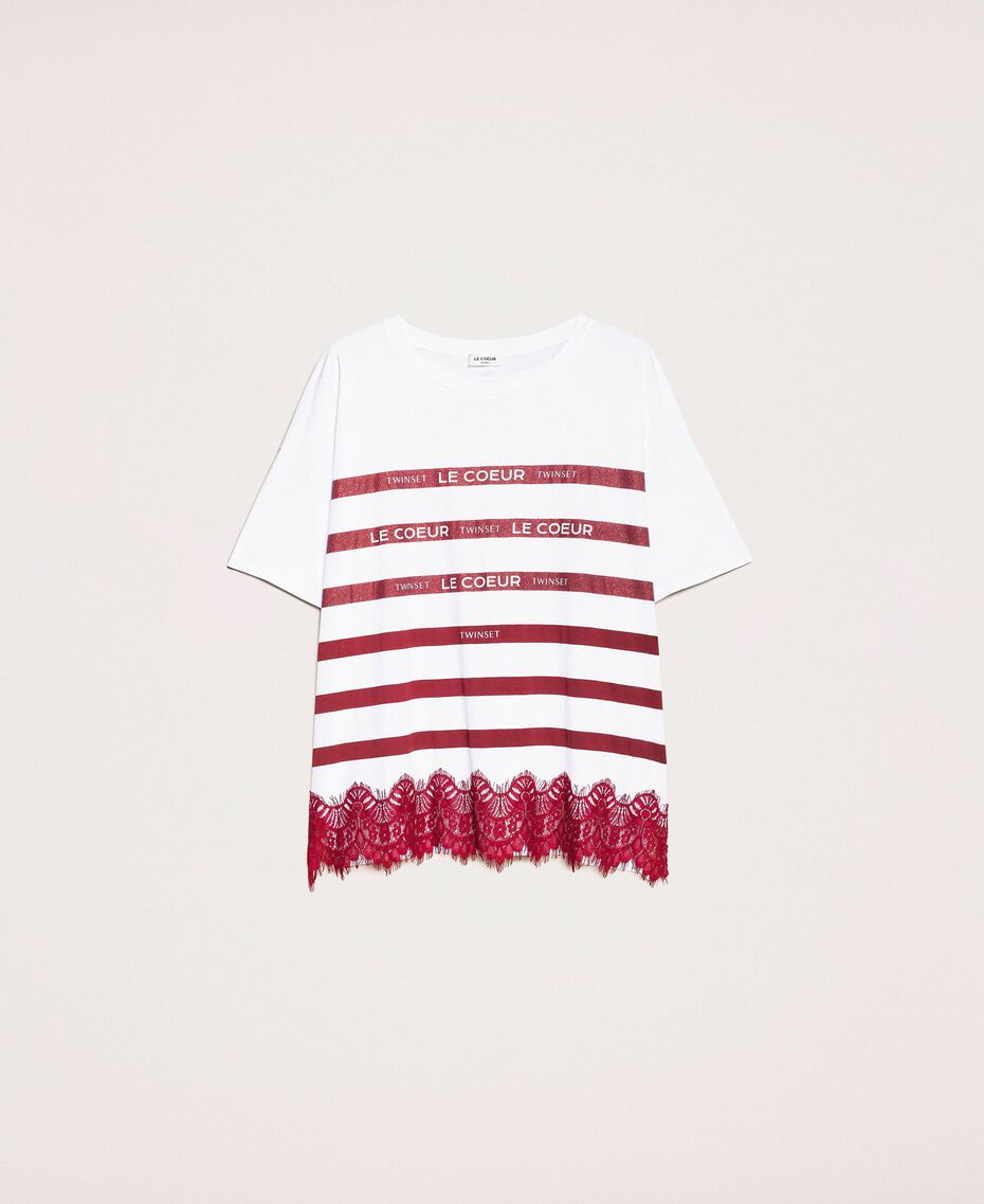 Oversize striped T-shirt with logo and lace Optical White / Crimson Red Woman 201ST2165-0S