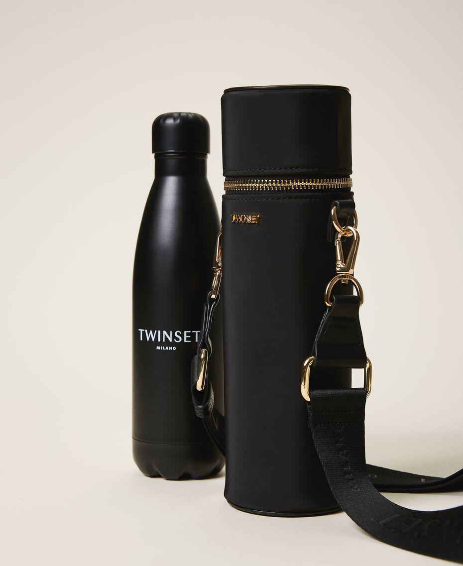 Trinkflaschenset mit Tasche aus technischem Satin Schwarz Frau 202TD8086-01