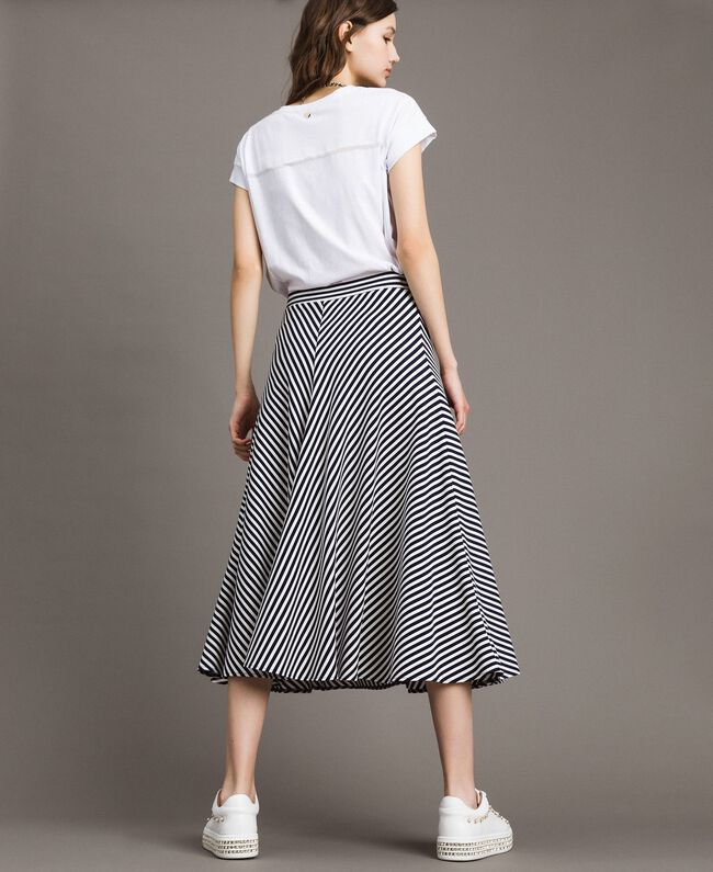 Two-tone striped mid-length skirt Blue Shadow / Off White Striping Woman 191ST2036-03