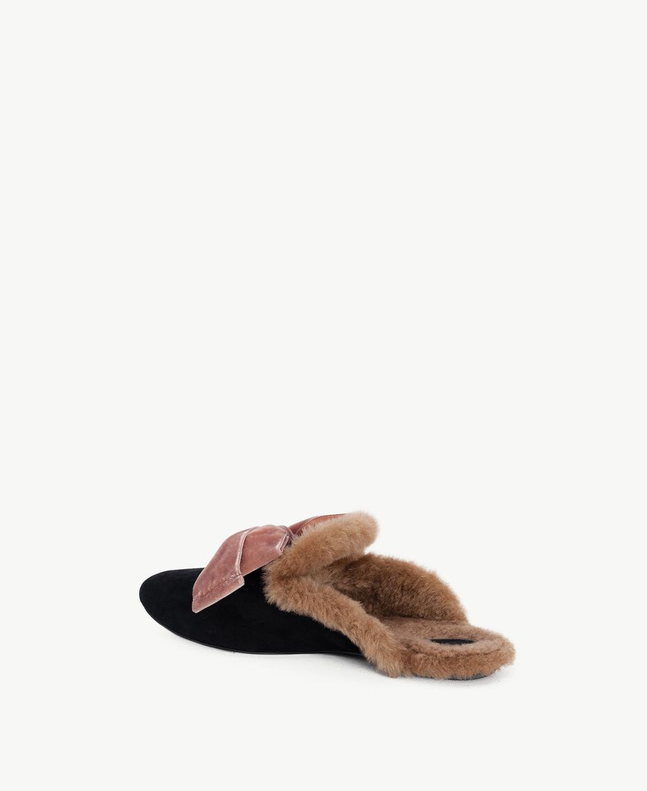 "TWINSET slippers daim Noir / Marron ""Deep Honey"" CA7THQ-03"