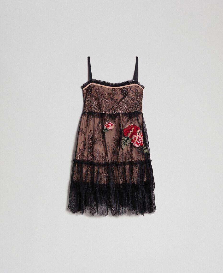 Top en dentelle de Valenciennes avec broderies florales Noir Femme 192TP2588-0S