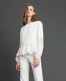 Blouse with macramé lace and flounce White Snow Woman 192TT2213-02