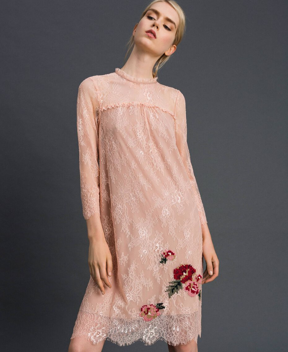 "Valenciennes lace dress with floral embroidery ""Pale Pink"" Woman 192TP2587-01"