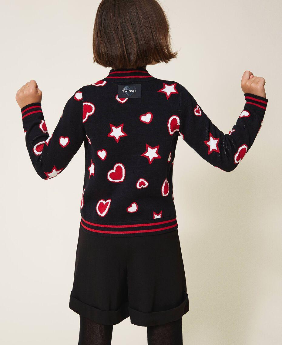 Жаккардовый кардиган со звездами и сердечками Жаккард Звезды Сердца / Черный Pебенок 202GJ3540-01