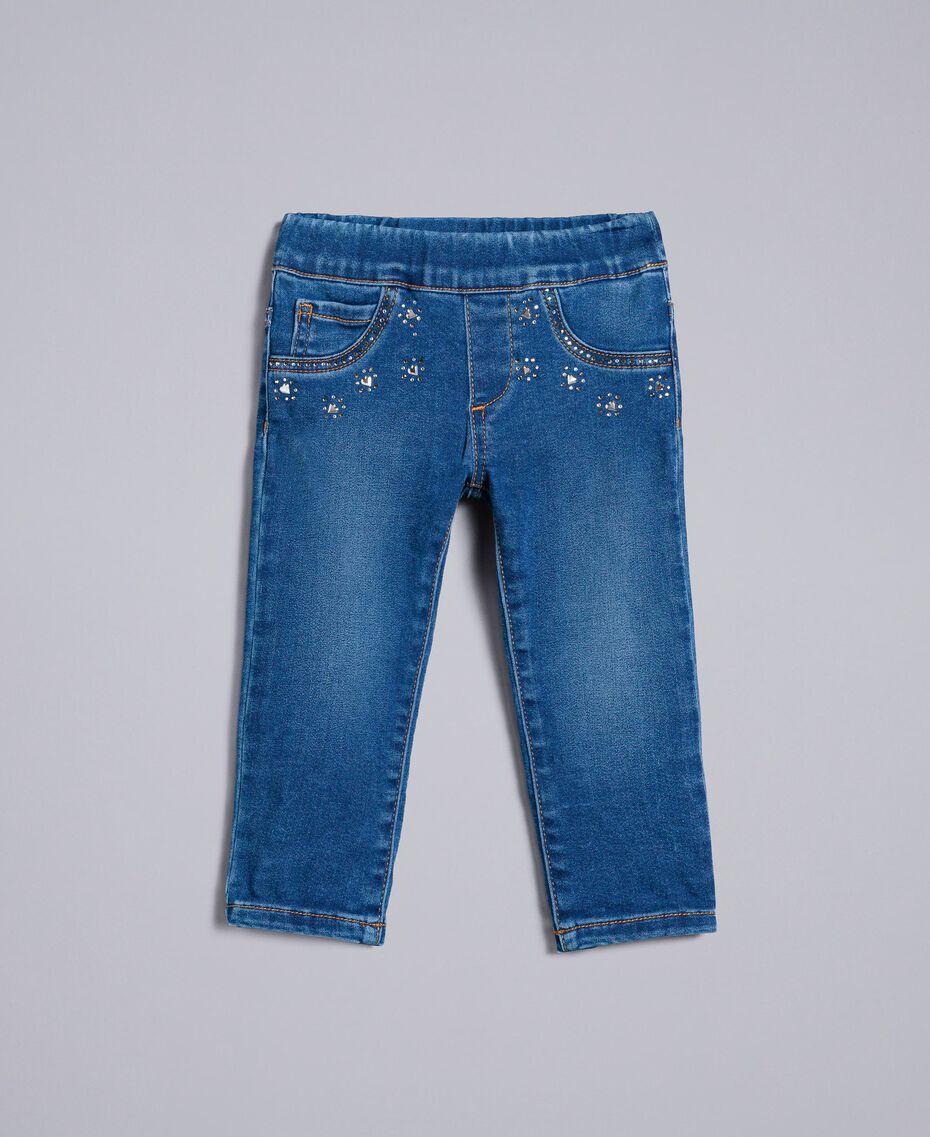 "Jeans in denim con strass Blu ""Denim Medio"" Bambina FA82VN-01"