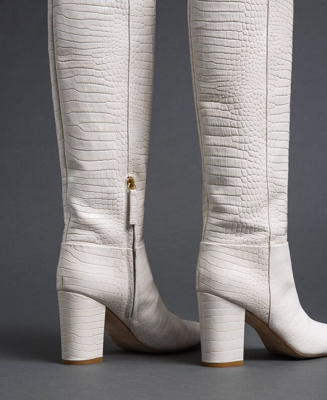 """Stivali in pelle a stampa coccodrillo Stampa Coccodrillo Bianco """"Neve"""" Donna 192TCT036-03"""