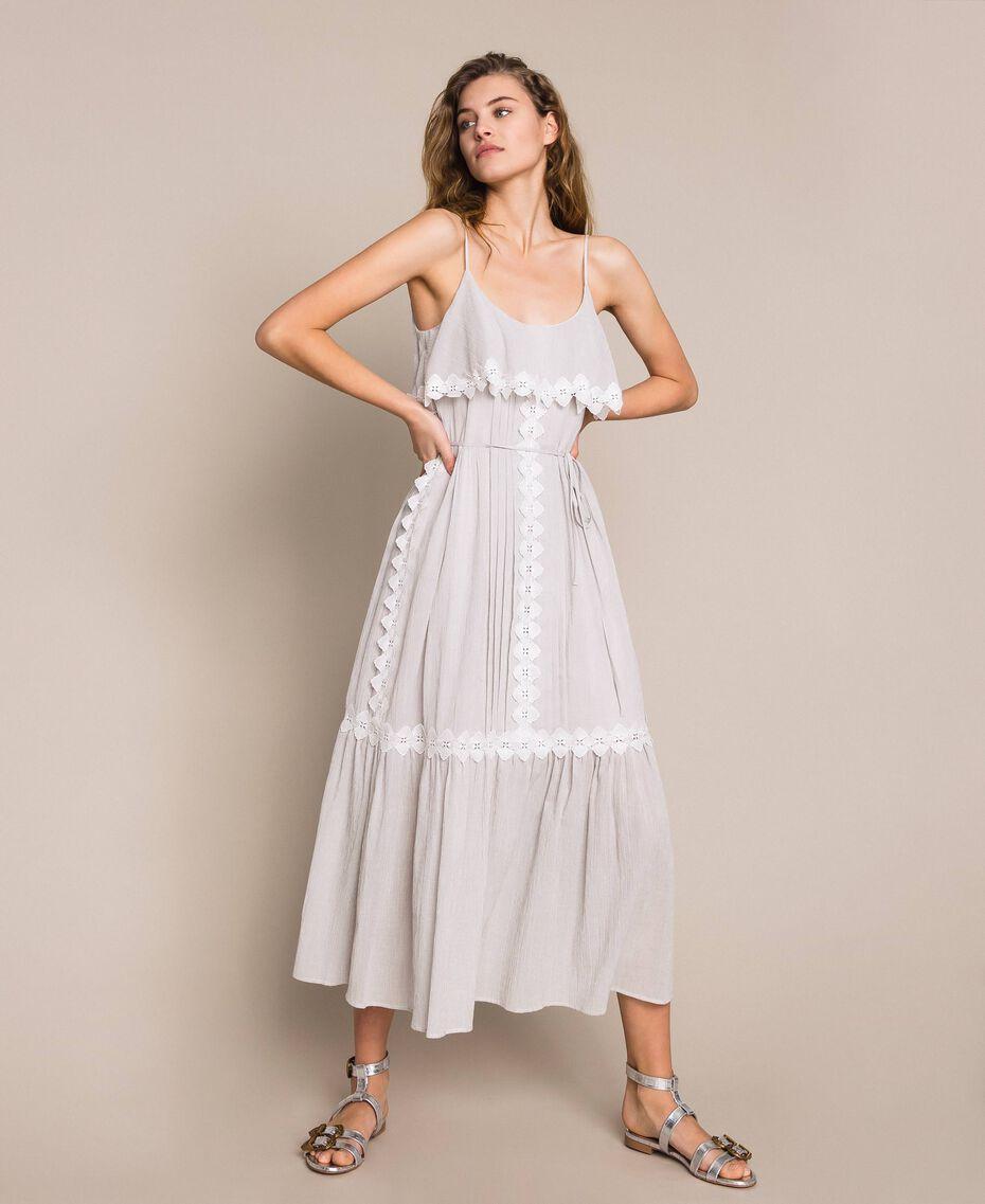 Robe longue en crépon avec dentelle Fil à fil Gris Moyen Femme 201TT2193-01