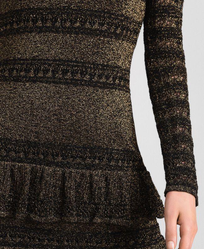 Robe en maille lurex à volants Rayé Noir / Lurex Femme 192TT3221-04