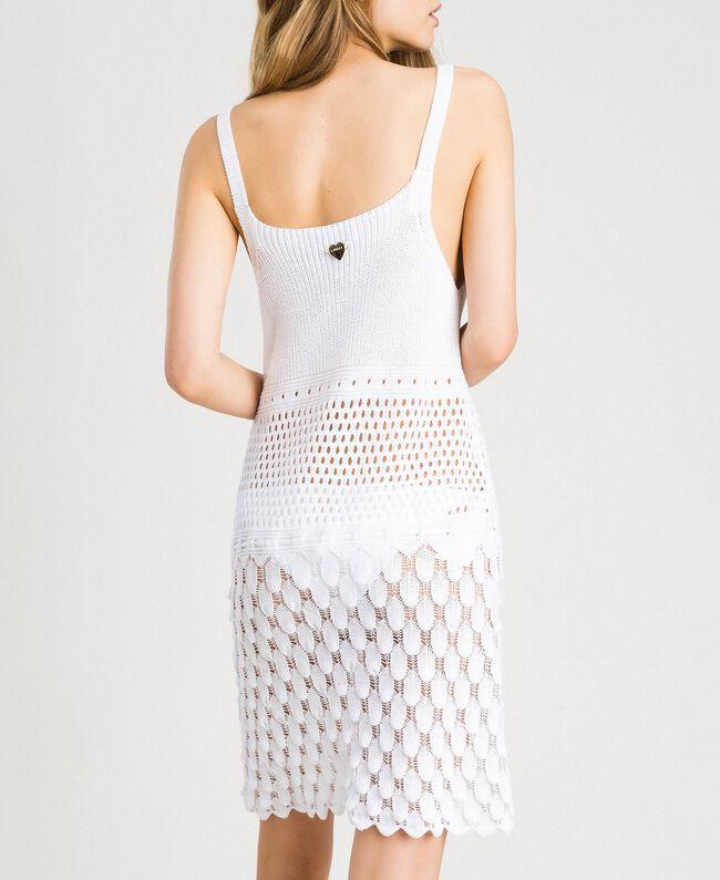 Baumwollkleid mit offenem Muster Weiß Frau 191LB3GCC-03