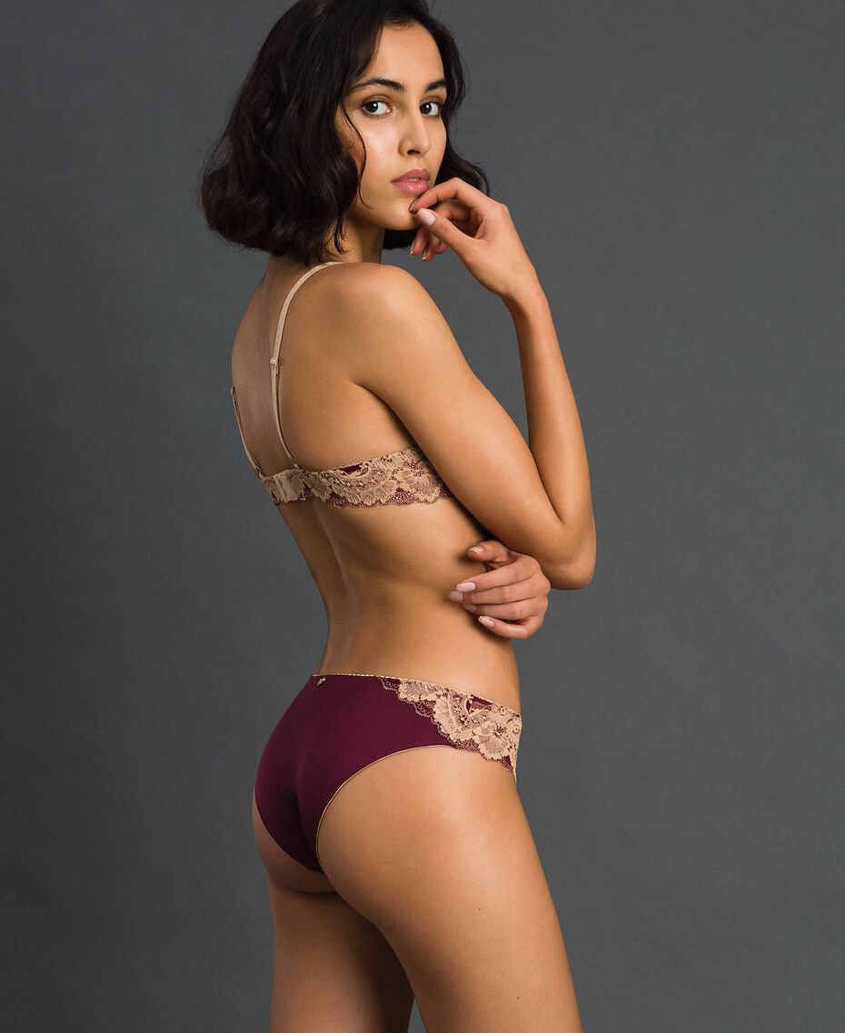 Soutien-gorge push-up en dentelle bicolore Rouge Violet / Beige Foncé Femme 192LL6D44-03