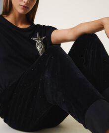 Pantalon en chenille avec strass Noir Femme 202LL2GFF-05