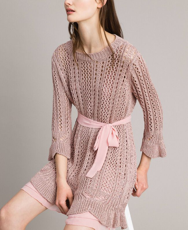 Lurex-Strick-Kleid Pearl Pink Lurex Frau 191TP3350-01