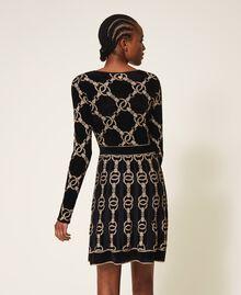 Robe en maille jacquard avec motif de chaînes Jacquard Chaîne Noir Femme 202TT3161-04