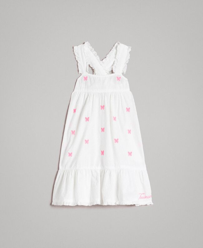 Plumetis dress with embroideries Optical White / Neon Fuchsia Embroidery Child 191GB2371-01