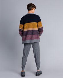 Colour block wool blend cardigan Multicolour Mouliné Man Man UA83GB-02