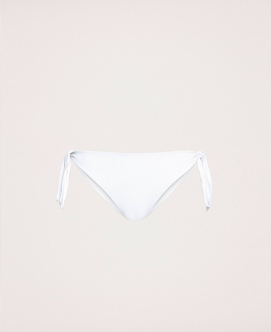 Tanga de bain noué avec logo Blanc Femme 201LMMN88-0S