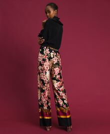 Palazzo trousers with floral scarf print Scarf Print Woman 192TP2605-03