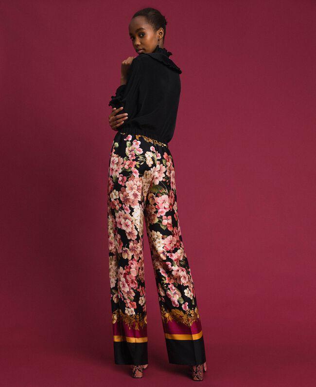 Pantalon palazzo avec imprimé foulard floral Imprimé Foulard Femme 192TP2605-03