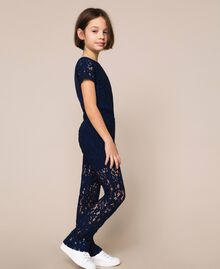 Hose aus Makrameespitze Nachtblau Kind 201GJ2QL0-02