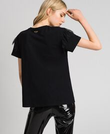 T-shirt with golden print and lace Black Woman 192MP2430-03