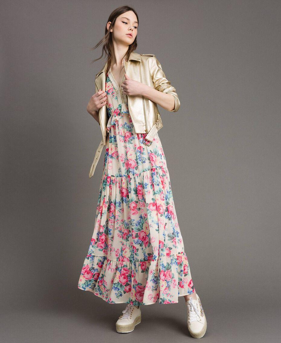 Robe en georgette à volants et froufrous Imprimé Fleur Tissu Blanc Femme 191MP2330-0T