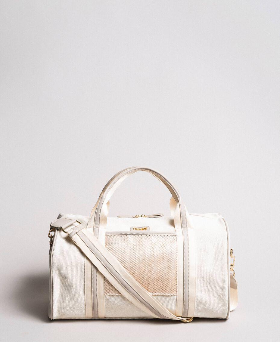 "Canvas and mesh travel bag ""Milkway"" Beige Woman 191LL49DD-01"