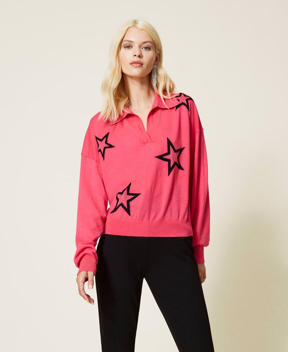 """Maglia a polo con stelle Bicolor Rosa """"Bubblegum"""" / Nero Donna 212AP3122-02"""