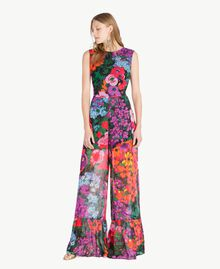 Printed jumpsuit Sixties Style Flower Print Woman TS824C-01