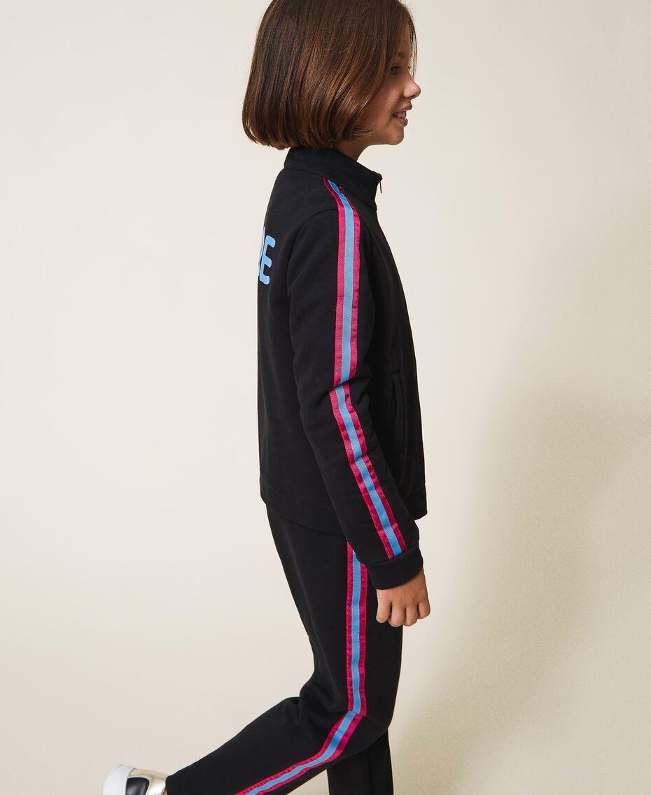 Sweatjacke mit mehrfarbigen Streifen Schwarz Kind 202GJ2710-03