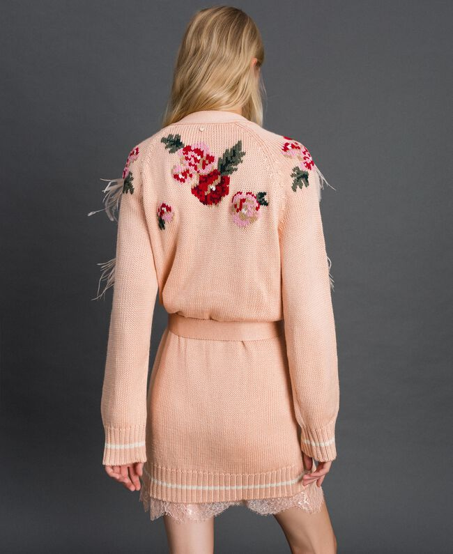 "Maxi cardigan with floral jacquard and embroidery ""Pale Pink"" Woman 192TP3322-03"
