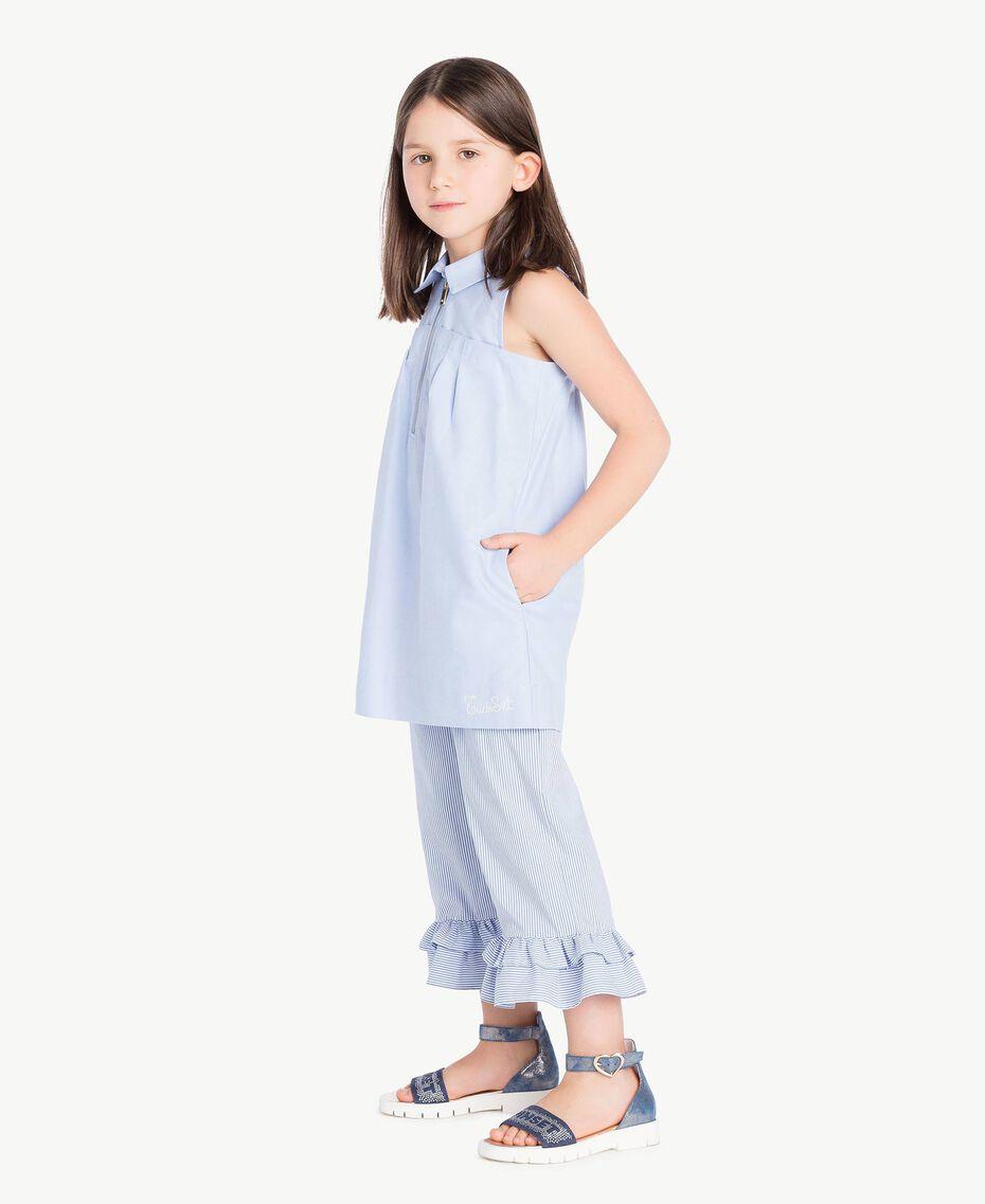 Kleid mit Raffung Jacquard Unendlichkeits-Azur Kind GS82QA-03