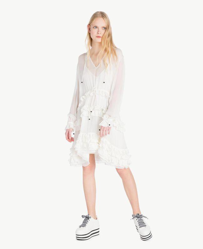 Ruched mini dress Parchment White Woman JS82NC-01