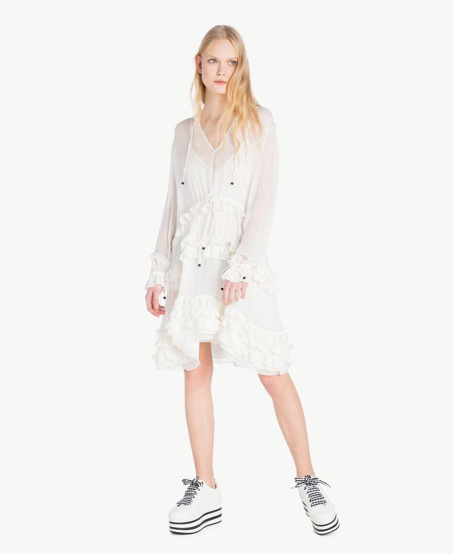 Mini-robe ruches Blanc Parchemin Femme JS82NC-01