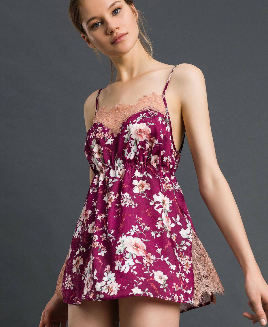 Floral jacquard top with lace Purple Red Floral Print Woman 192LI25DD-02