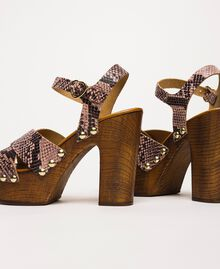 Animal print faux leather clog sandals Wild Rose Python Print Woman 201MCT01C-04