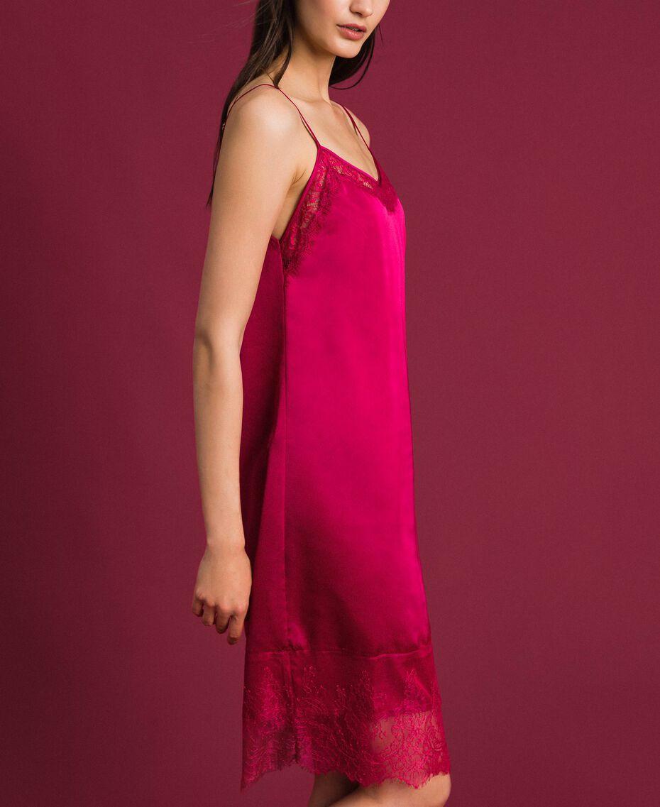 Unterkleid aus Satin mit Spitze Rot Amaranth Frau 192MP2132-02