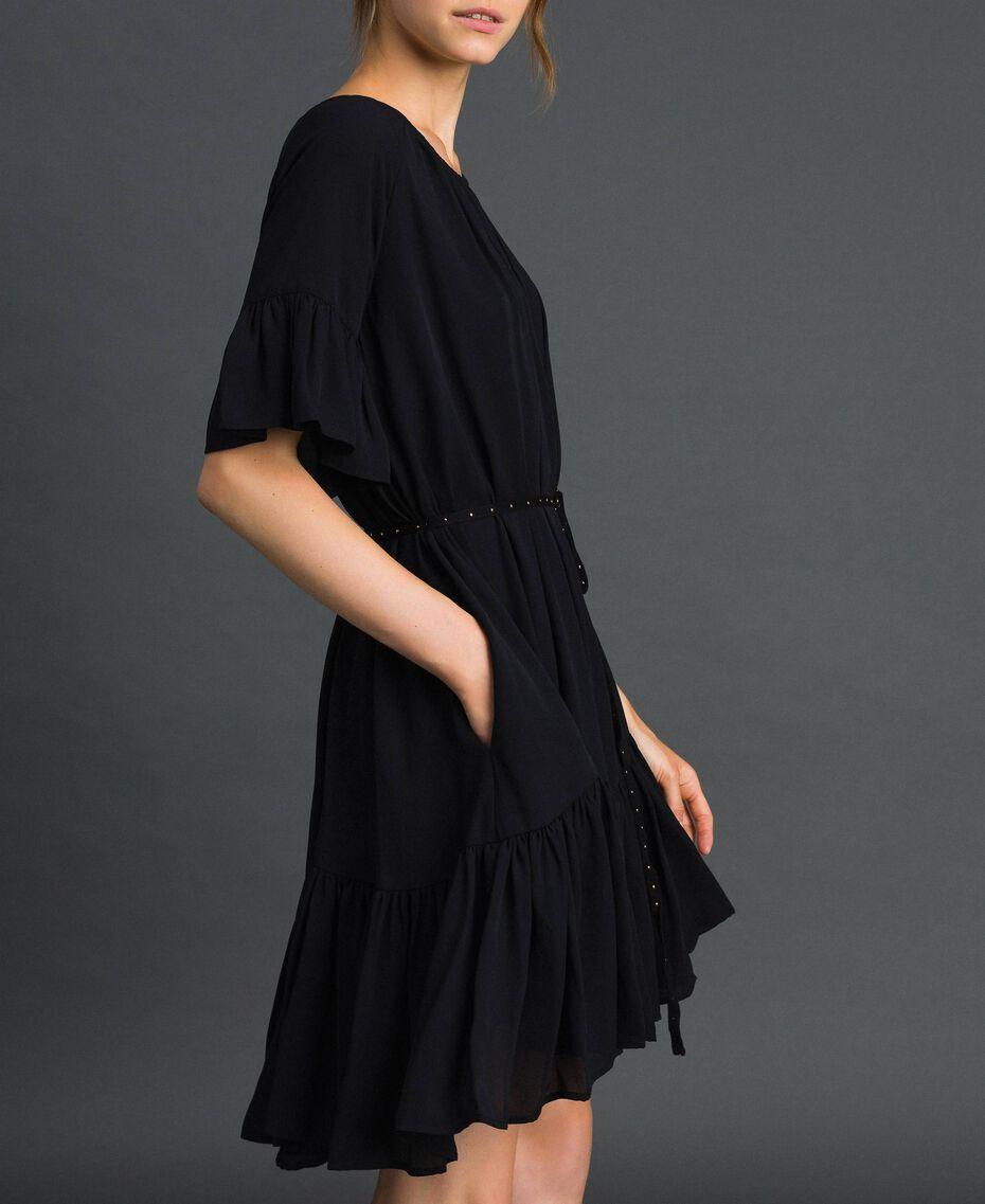 Crêpe de Chine dress with belt Black Woman 192MP2163-02