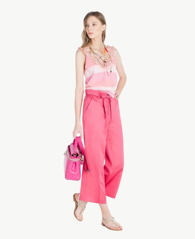 Top ruches Rayure Rose Femme TS83CC-05