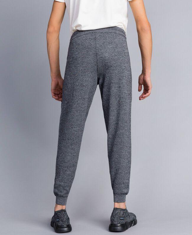 Pantalon de jogging en coton et laine Bicolore Blanc Mat / Noir Homme UA83BC-03