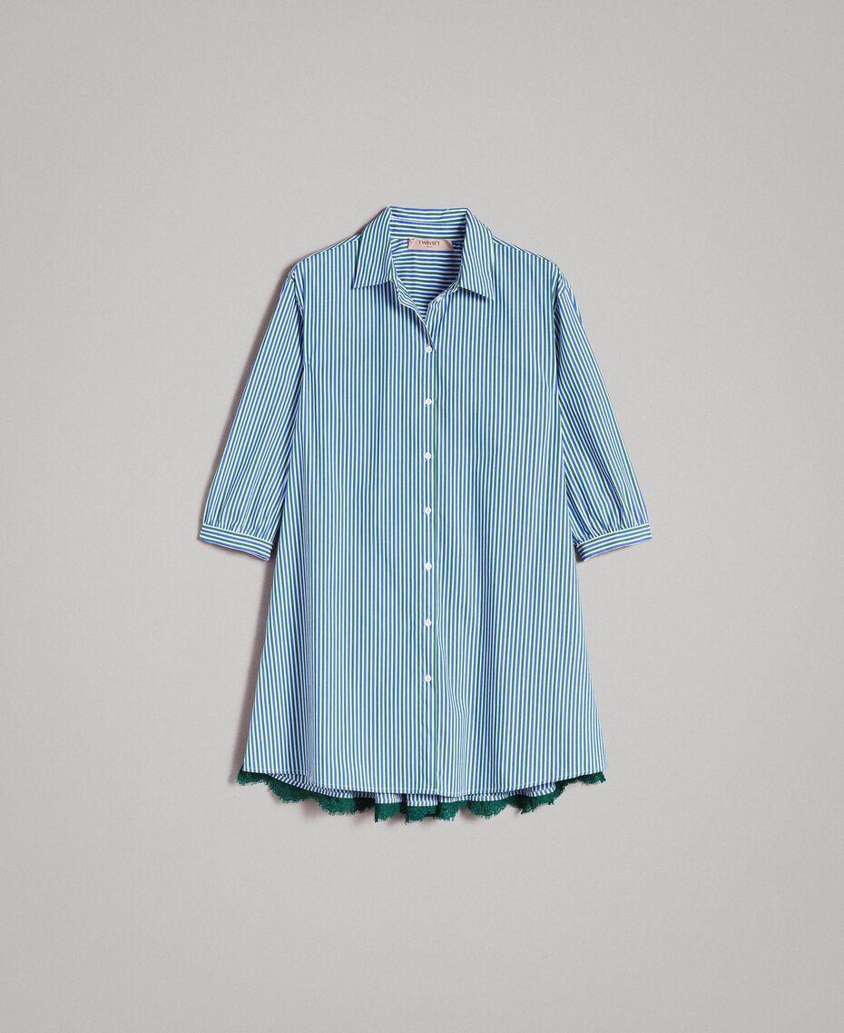 """Maxi camicia in popeline a righe con pizzo Rigato Bluette / Verde """"Evergreen"""" Donna 191TP2314-0S"""