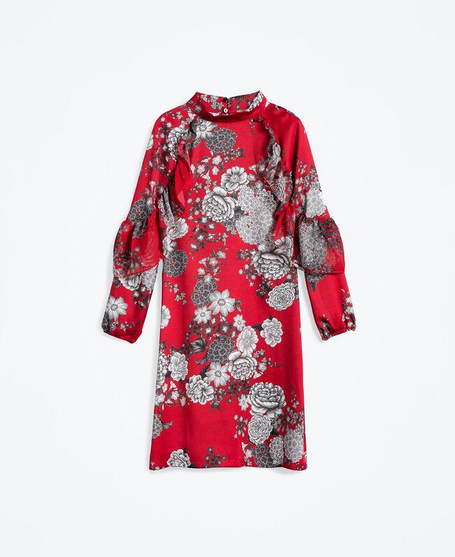 """Kleid aus Twill mit Blumenprint Print """"Blume"""" Rotbraun Frau LA8KSS-01"""
