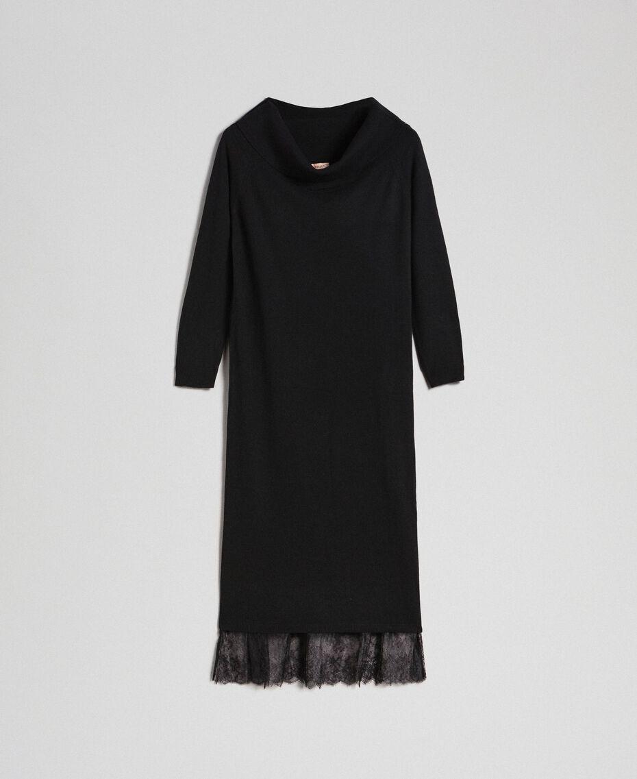 Robe en cachemire mélangé avec fonde robe en dentelle Noir Femme 192TT3091-0S