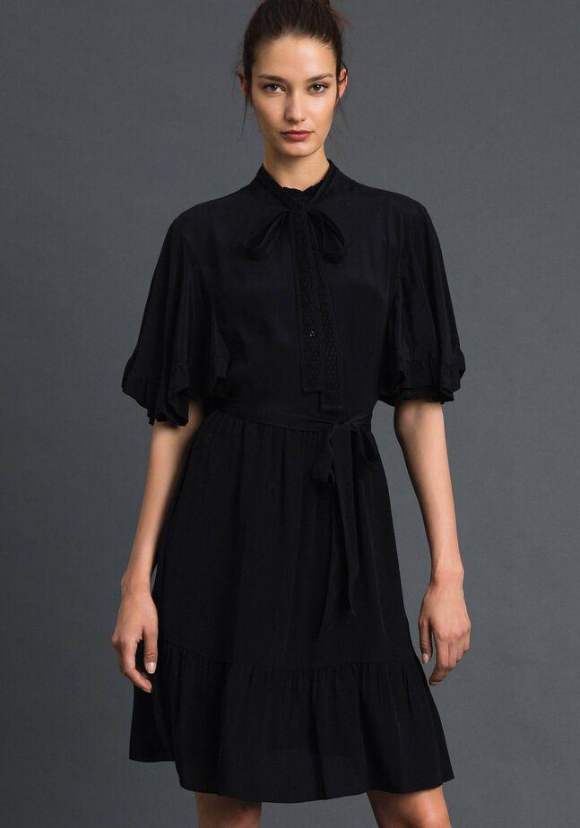 Crêpe de Chine silk blend dress